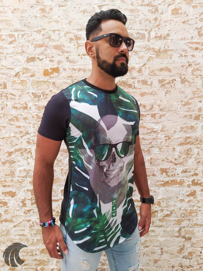 Camiseta Evoque Black Leaves and Skull  - Harpia Moda - Moda Masculina & Acessórios
