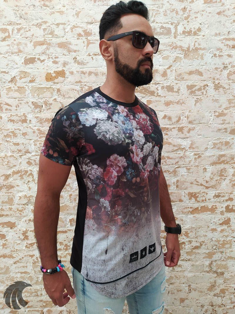 Camiseta Evoque Black Rising Flowers  - Harpia Moda - Moda Masculina & Acessórios
