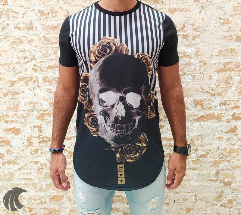 Camiseta Evoque Black Skull Gold Flowers  - Harpia Moda - Moda Masculina & Acessórios