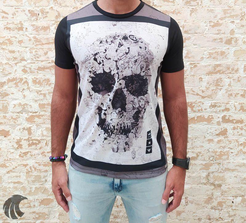 Camiseta Evoque Black Skull Icons  - Harpia Moda - Moda Masculina & Acessórios