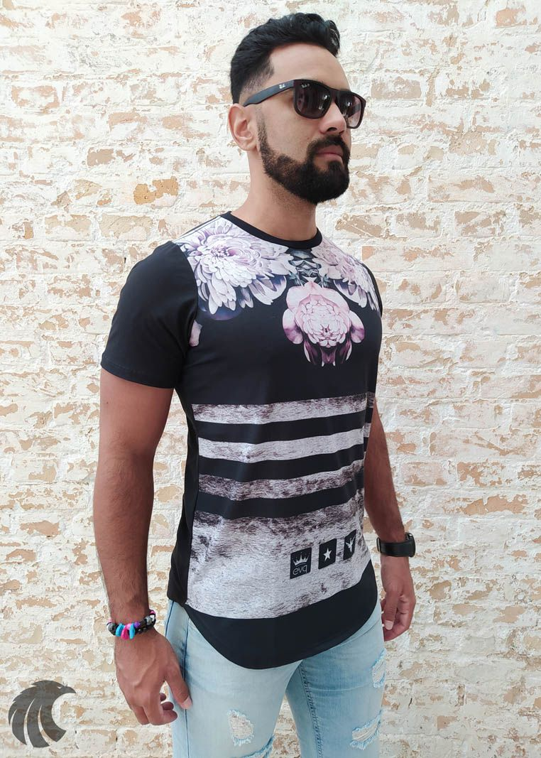 Camiseta Evoque Black Textures, Lines and Flowers  - Harpia Moda - Moda Masculina & Acessórios