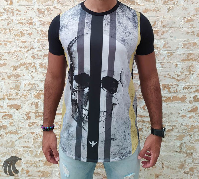 Camiseta Evoque Black Vertical Lines Skull  - Harpia Moda - Moda Masculina & Acessórios