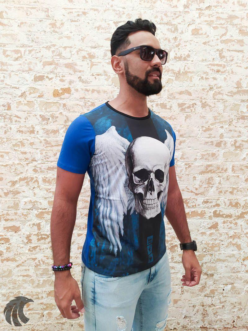 Camiseta Evoque Blue Angel Skull  - Harpia Moda - Moda Masculina & Acessórios