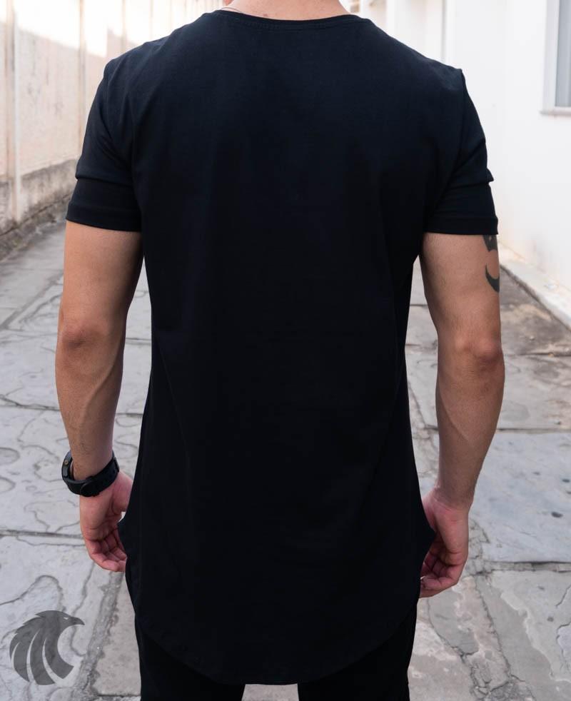 Camiseta Evoque Branca Long Line Pássaro de Cores  - Harpia Moda - Moda Masculina & Acessórios