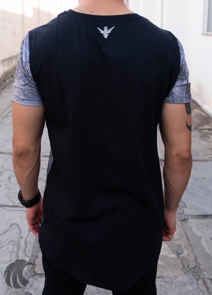 Camiseta Evoque Cinza Long Line Motoqueiro  - Harpia Moda - Moda Masculina & Acessórios