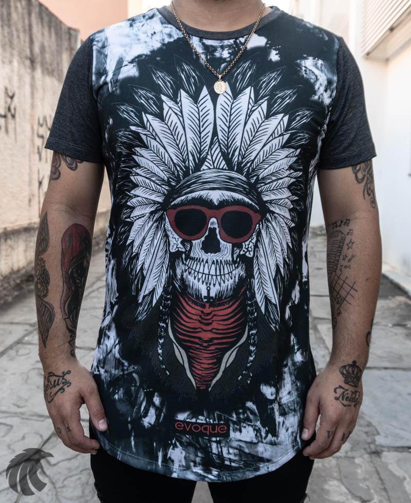 Camiseta Evoque Cinza Pajé LongLine  - Harpia Moda - Moda Masculina & Acessórios