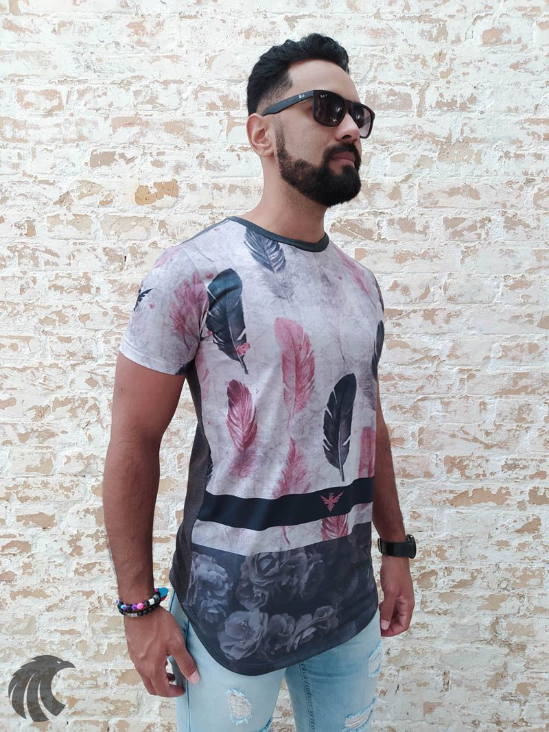 Camiseta Evoque Gray Feathers  - Harpia Moda - Moda Masculina & Acessórios