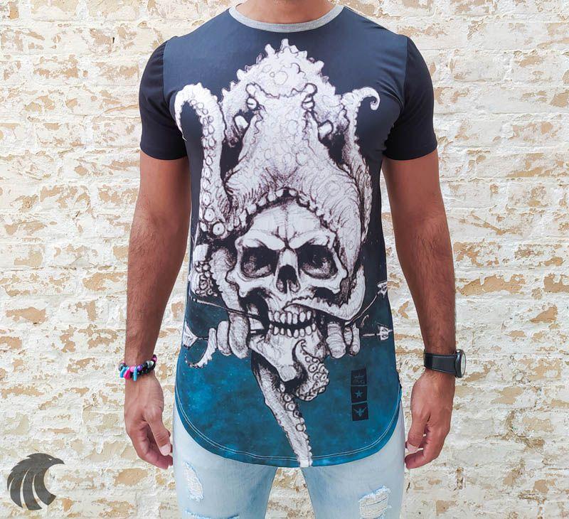 Camiseta Evoque Gray Octopus Skull  - Harpia Moda - Moda Masculina & Acessórios