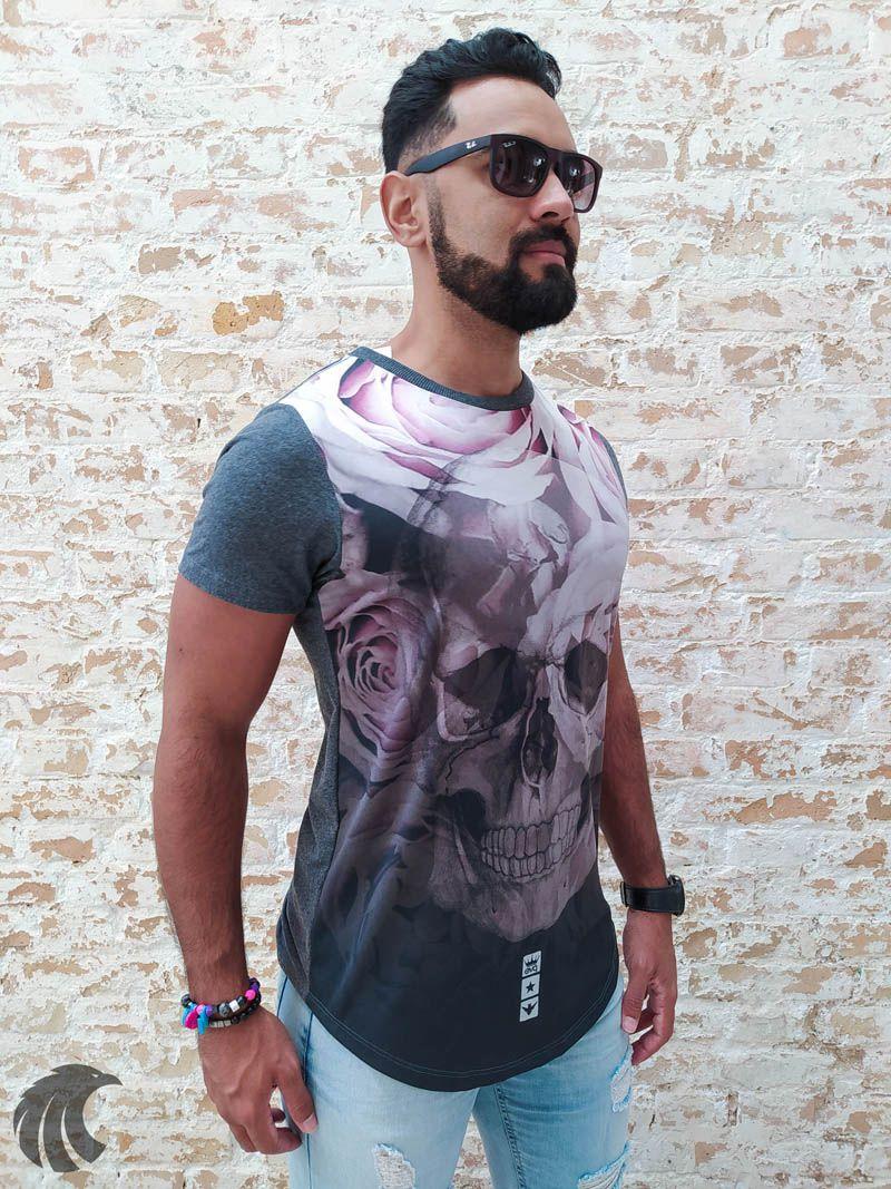 Camiseta Evoque Gray Skull Roses  - Harpia Moda - Moda Masculina & Acessórios