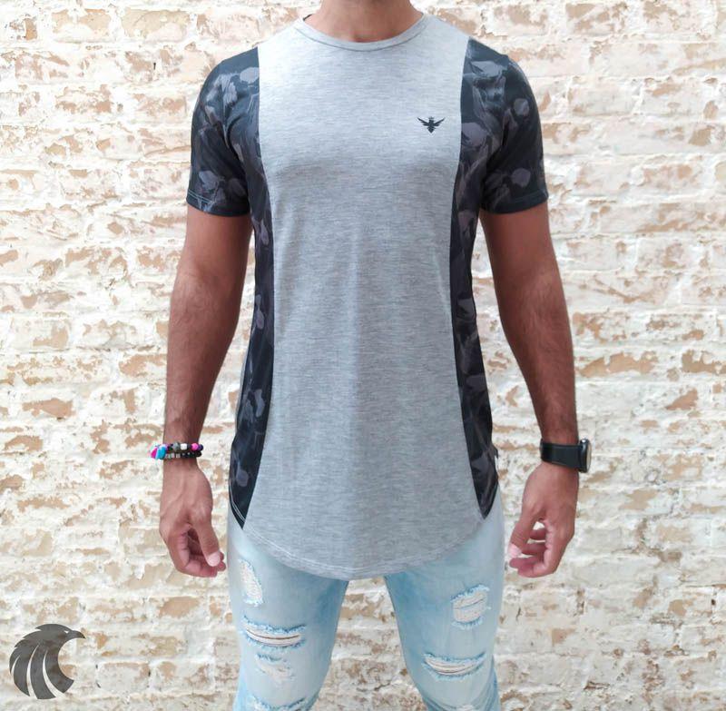 Camiseta Evoque Grey Brand Flowers One  - Harpia Moda - Moda Masculina & Acessórios