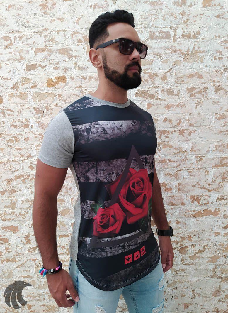 Camiseta Evoque Grey Flower with Triangle  - Harpia Moda - Moda Masculina & Acessórios