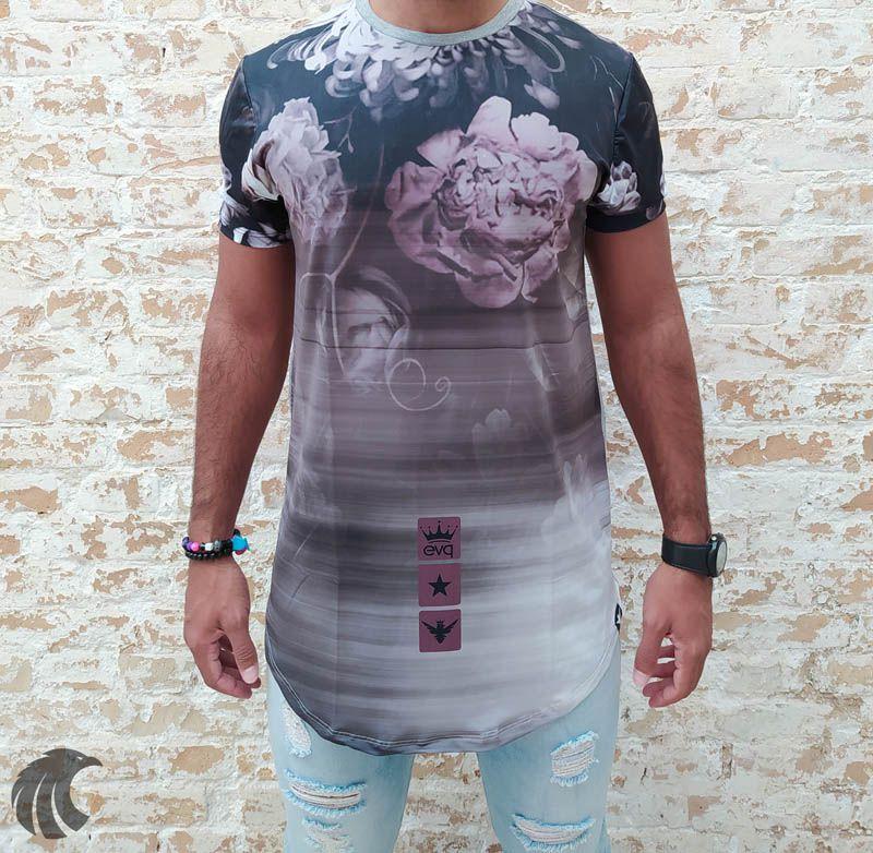Camiseta Evoque Grey Flowers Gradient  - Harpia Moda - Moda Masculina & Acessórios