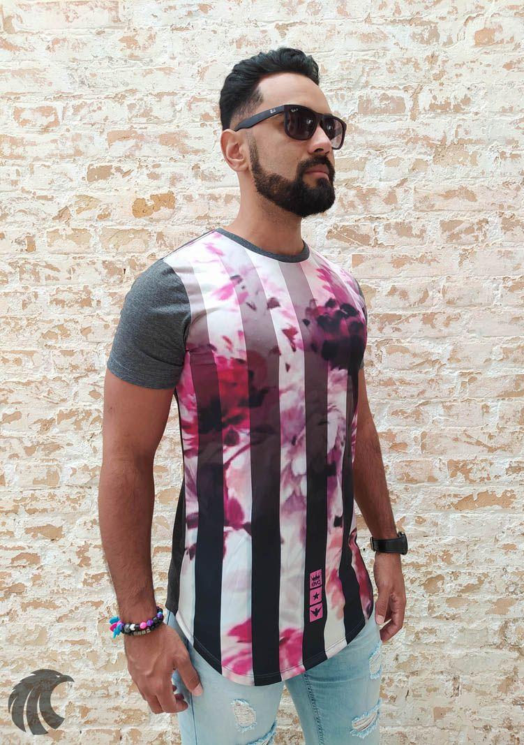 Camiseta Evoque Grey Roses and Tracks  - Harpia Moda - Moda Masculina & Acessórios