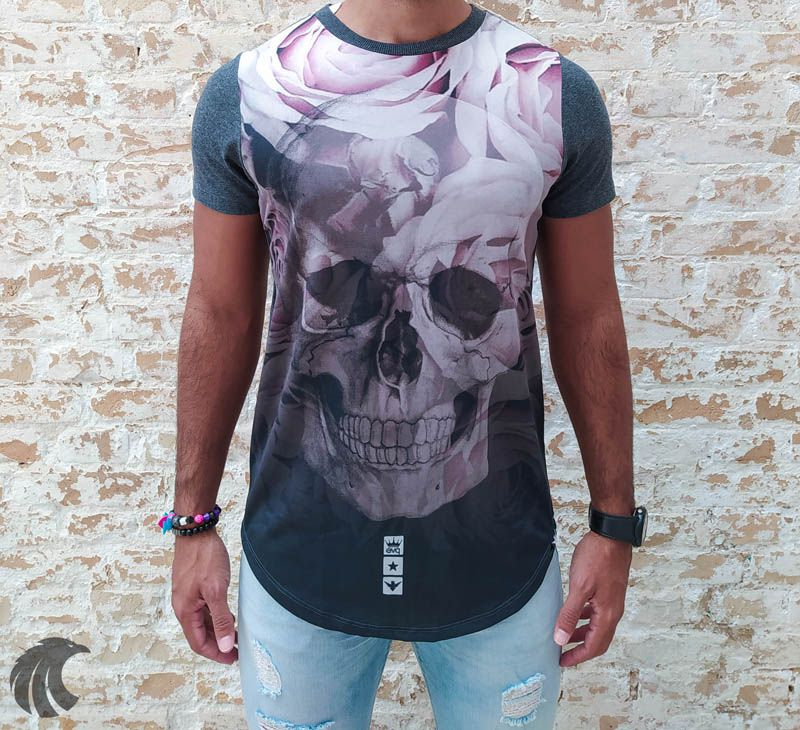 Camiseta Evoque Grey Skull and Mixed Roses  - Harpia Moda - Moda Masculina & Acessórios