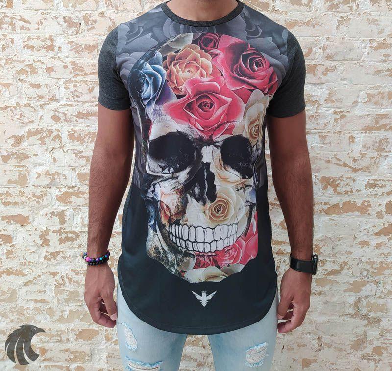 Camiseta Evoque Grey Skull Filling Flowers  - Harpia Moda - Moda Masculina & Acessórios