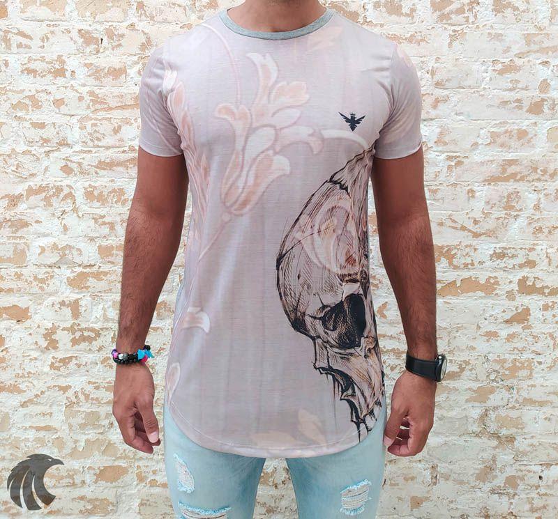 Camiseta Evoque Grey Skull Thinking  - Harpia Moda - Moda Masculina & Acessórios