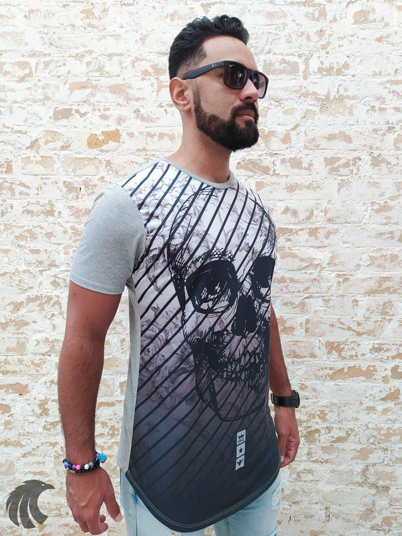 Camiseta Evoque Grey Stripes Skull Two  - Harpia Moda - Moda Masculina & Acessórios