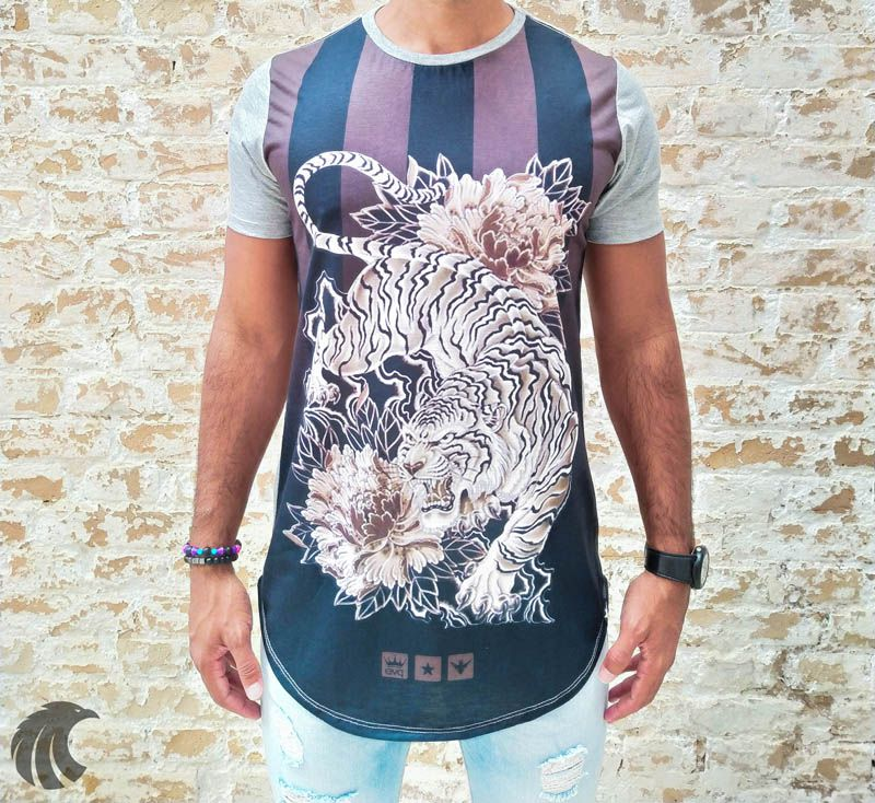 Camiseta Evoque Grey Tiger Horizontal Stripes  - Harpia Moda - Moda Masculina & Acessórios