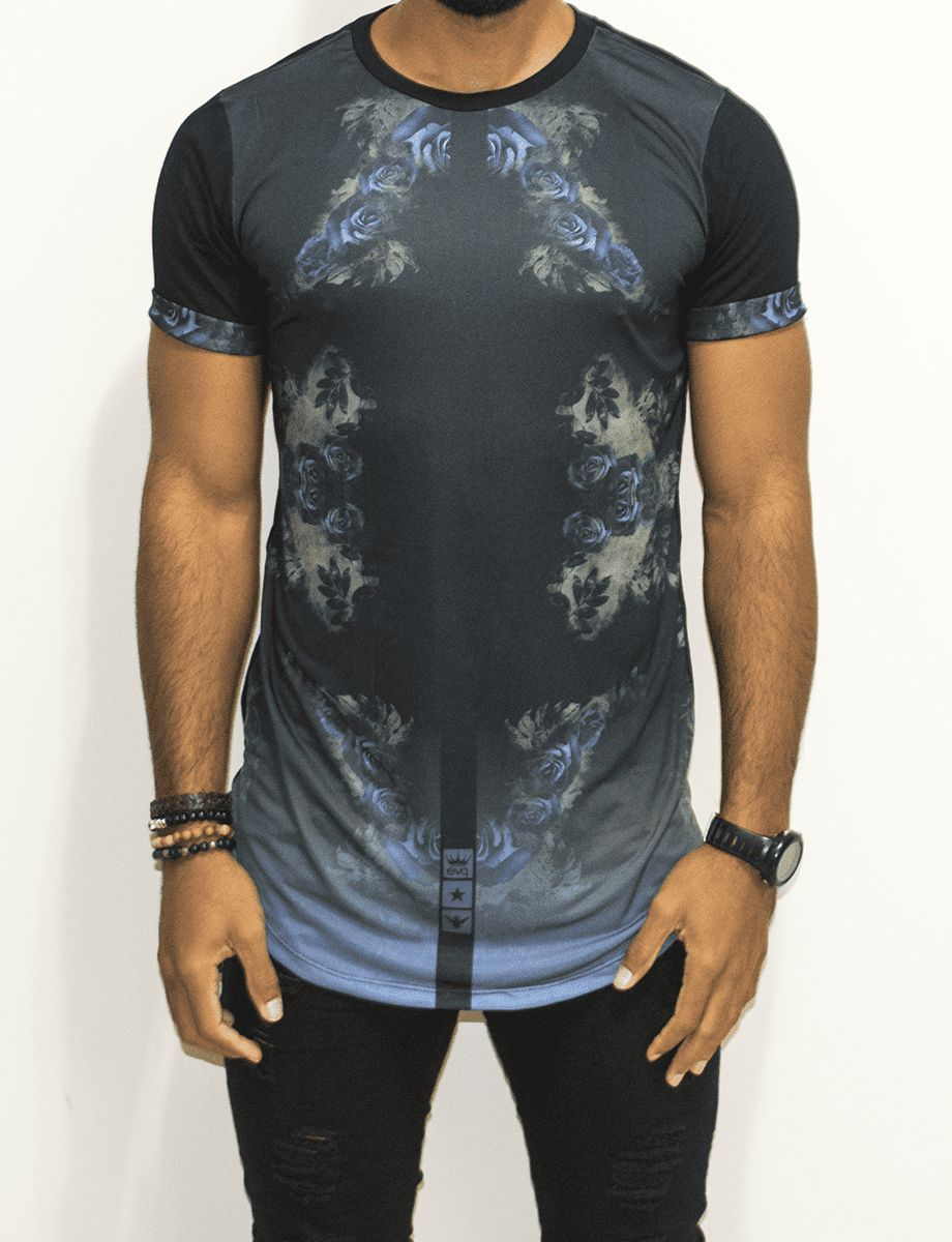 Camiseta Evoque Long Flowers Blue and Black - Harpia Moda - Moda ... 37c2dba5163