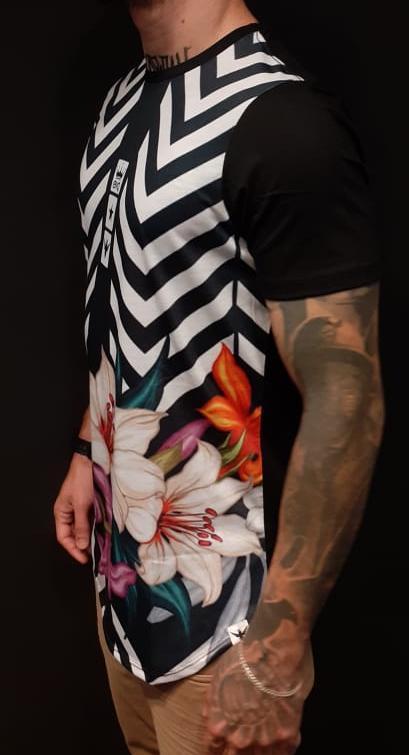 Camiseta Evoque Long Flowers Purple and Stripes  - Harpia Moda - Moda Masculina & Acessórios