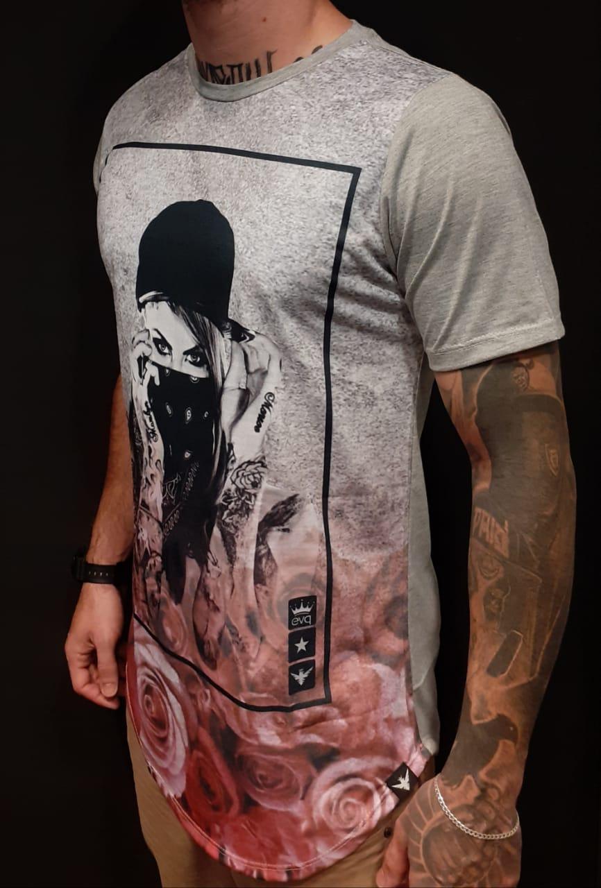 Camiseta Evoque Long Gangster Woman Gray  - Harpia Moda - Moda Masculina & Acessórios