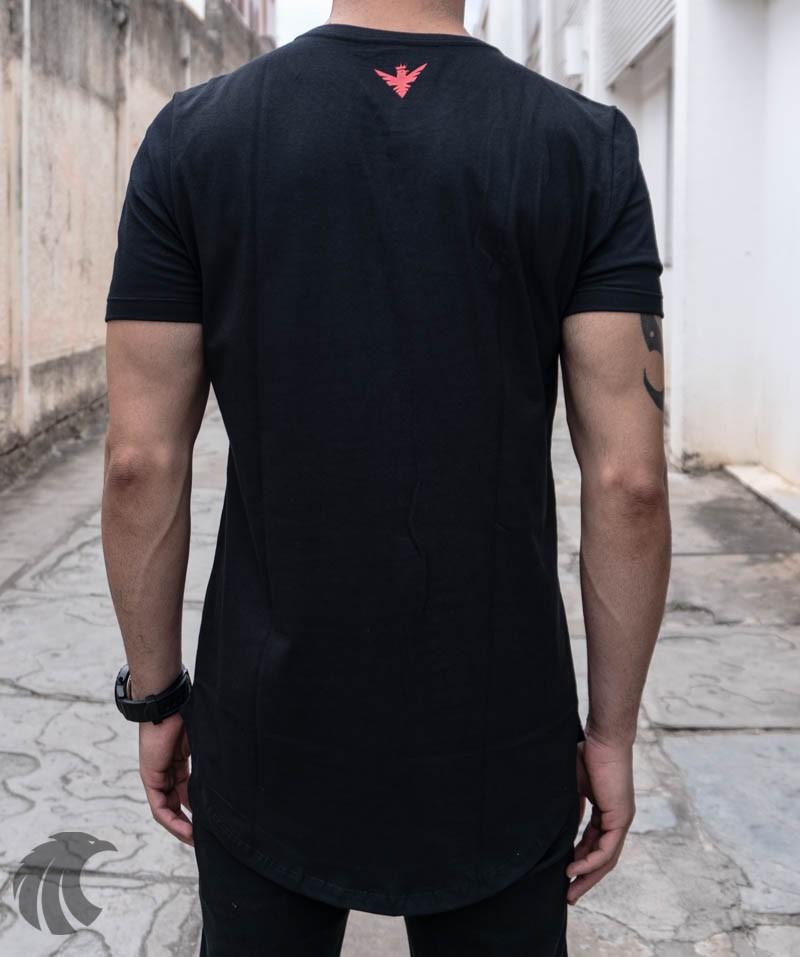 Camiseta Evoque Long Line Black Rose Carton  - Harpia Moda - Moda Masculina & Acessórios