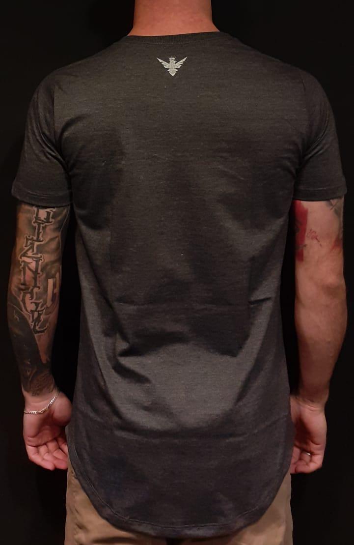 Camiseta Evoque Long Line Grey Rose X  - Harpia Moda - Moda Masculina & Acessórios
