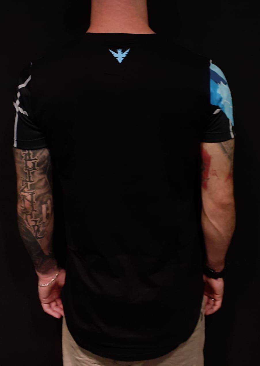 Camiseta Evoque Long Quadricular Blue Flower  - Harpia Moda - Moda Masculina & Acessórios