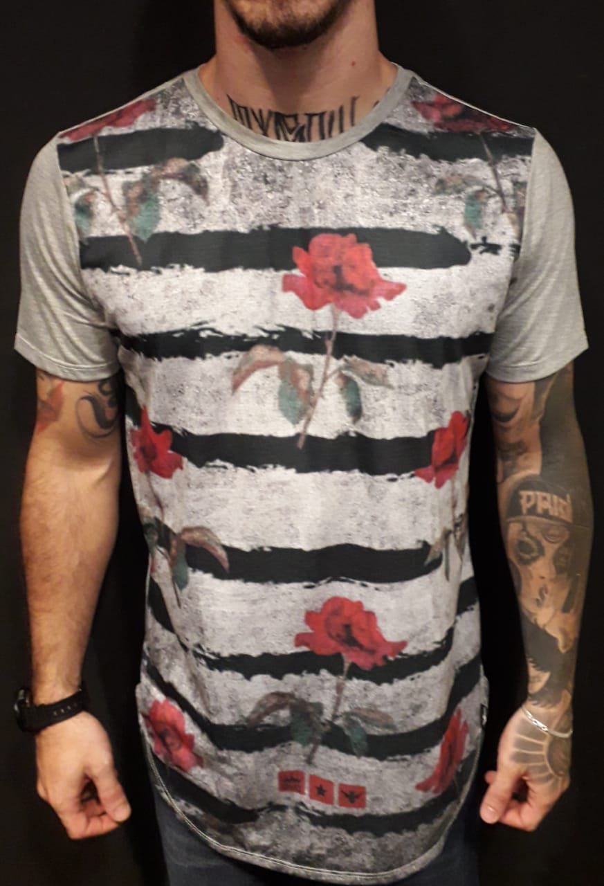 Camiseta Evoque Long Stripes and Roses  - Harpia Moda - Moda Masculina & Acessórios