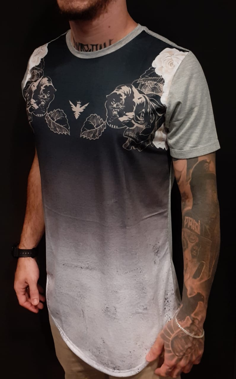 Camiseta Evoque Long  Tiger Leaves Gray  - Harpia Moda - Moda Masculina & Acessórios