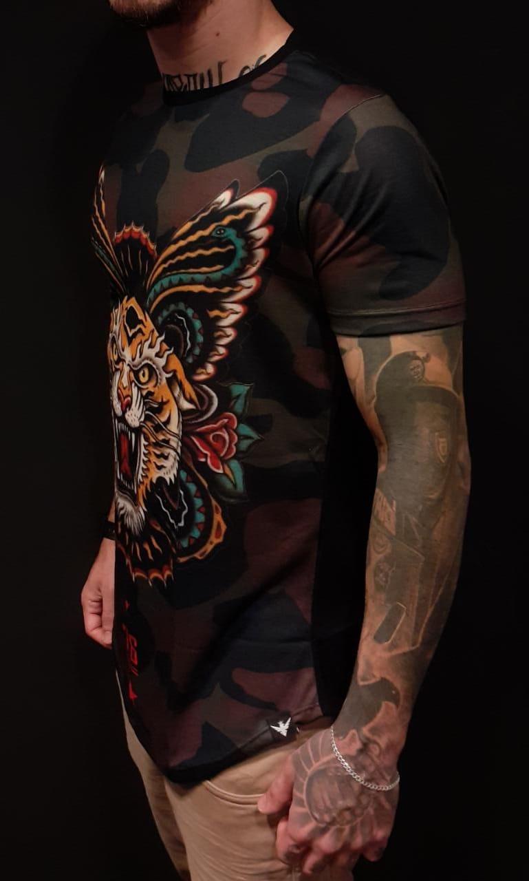 Camiseta Evoque Long Tigre Tribal  - Harpia Moda - Moda Masculina & Acessórios