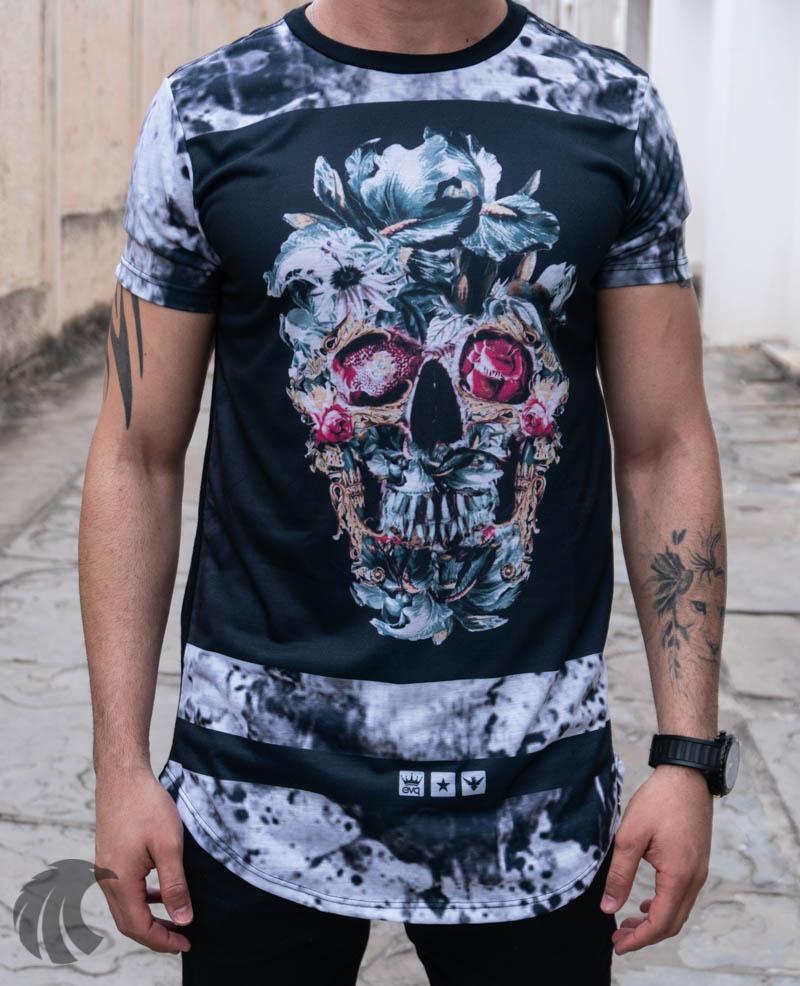 Camiseta Evoque Preta Caveira Florida   - Harpia Moda - Moda Masculina & Acessórios