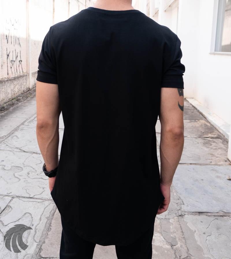 Camiseta Evoque Preta Long Line Dragão Detalhe Lateral  - Harpia Moda - Moda Masculina & Acessórios