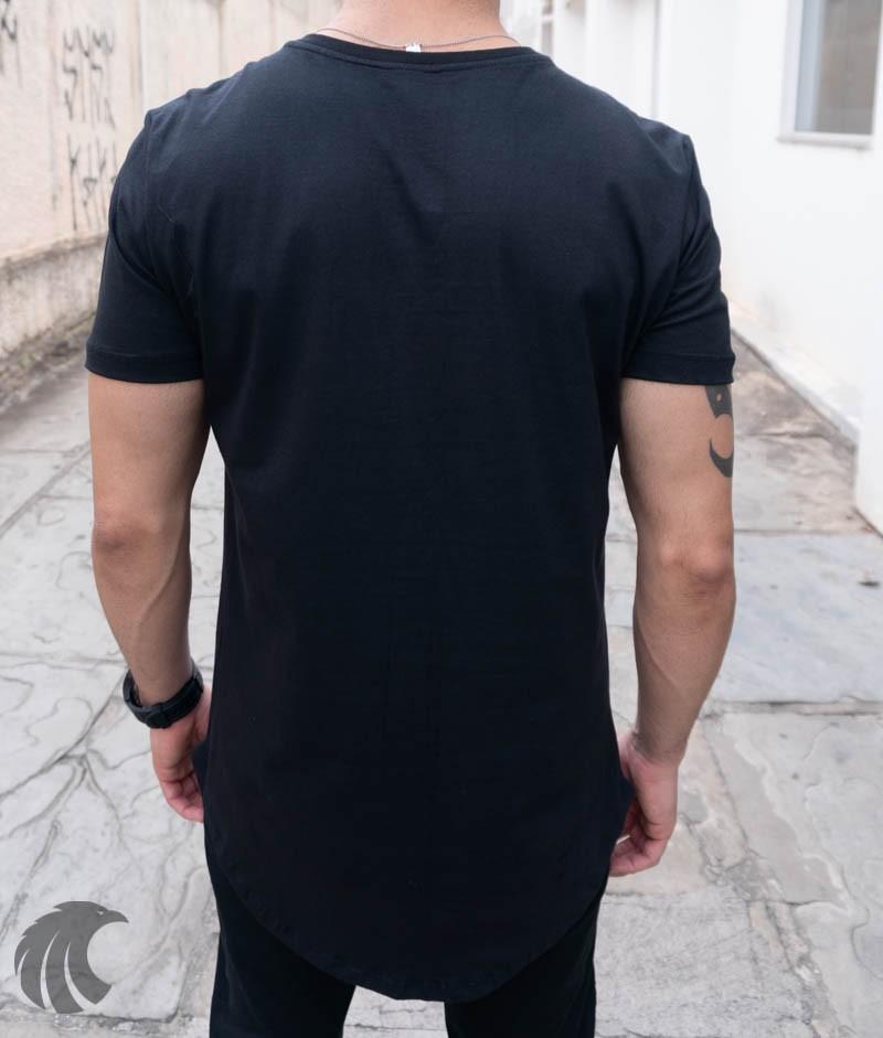 Camiseta Evoque Preta Long Line X Flores  - Harpia Moda - Moda Masculina & Acessórios