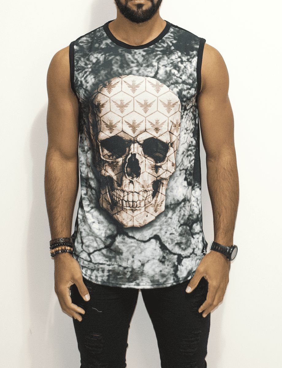 Camiseta Evoque Regata Caveira - Harpia Moda - Moda Masculina ... 6bc42607a91