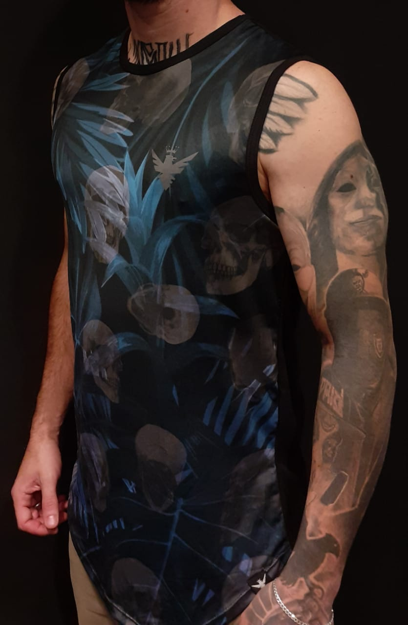 Camiseta Evoque Regata Skull Blue Flowers  - Harpia Moda - Moda Masculina & Acessórios