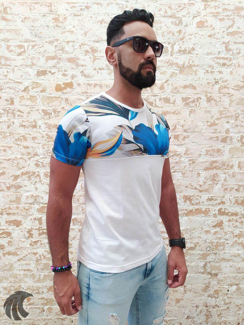 Camiseta Evoque White and Blue Flowers  - Harpia Moda - Moda Masculina & Acessórios