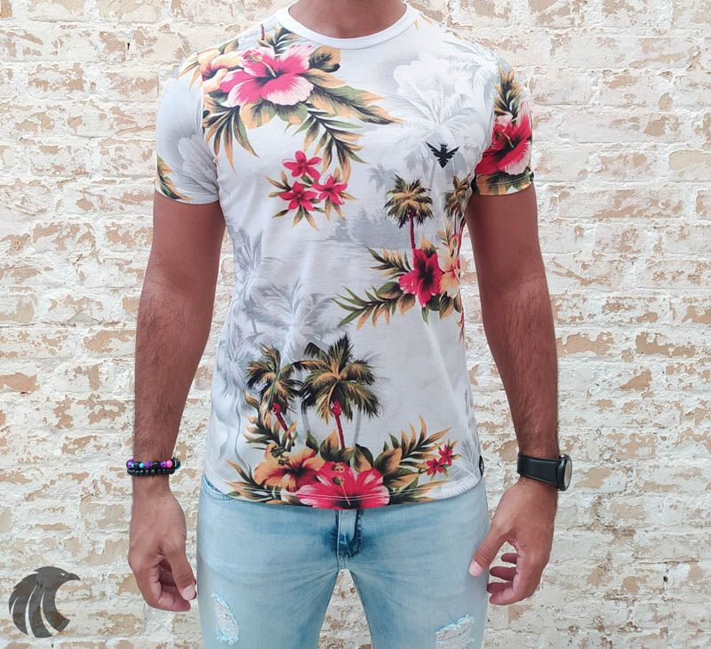Camiseta Evoque White Coconut Trees and Flowers - Harpia Moda - Moda Masculina & Acessórios