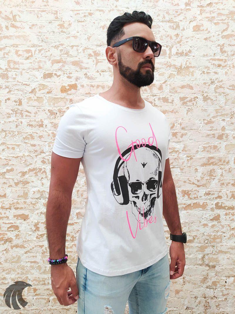 Camiseta Evoque White Good Vibes  - Harpia Moda - Moda Masculina & Acessórios