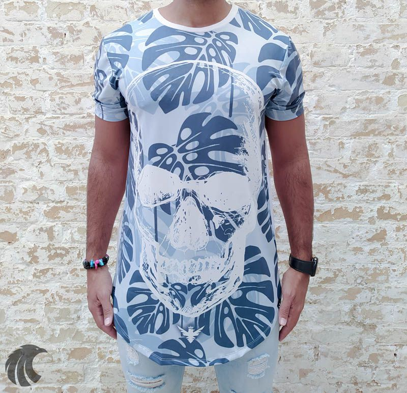 Camiseta Evoque White Leaves and Skull  - Harpia Moda - Moda Masculina & Acessórios