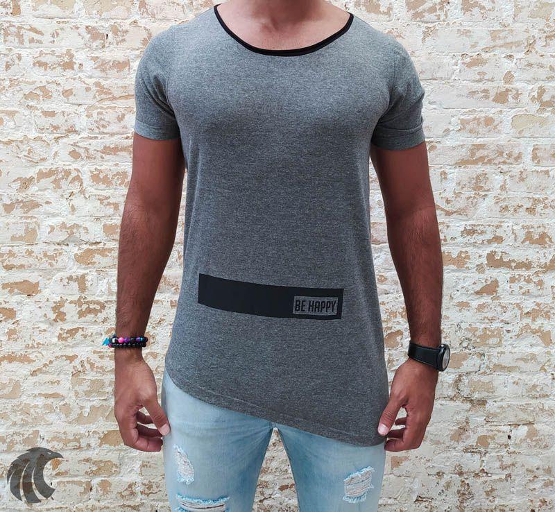 Camiseta King Joy Grey Be Happy  - Harpia Moda - Moda Masculina & Acessórios