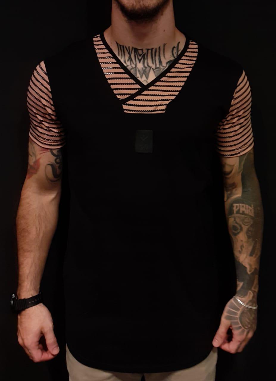 Camiseta King Joy Long Black Lines  - Harpia Moda - Moda Masculina & Acessórios