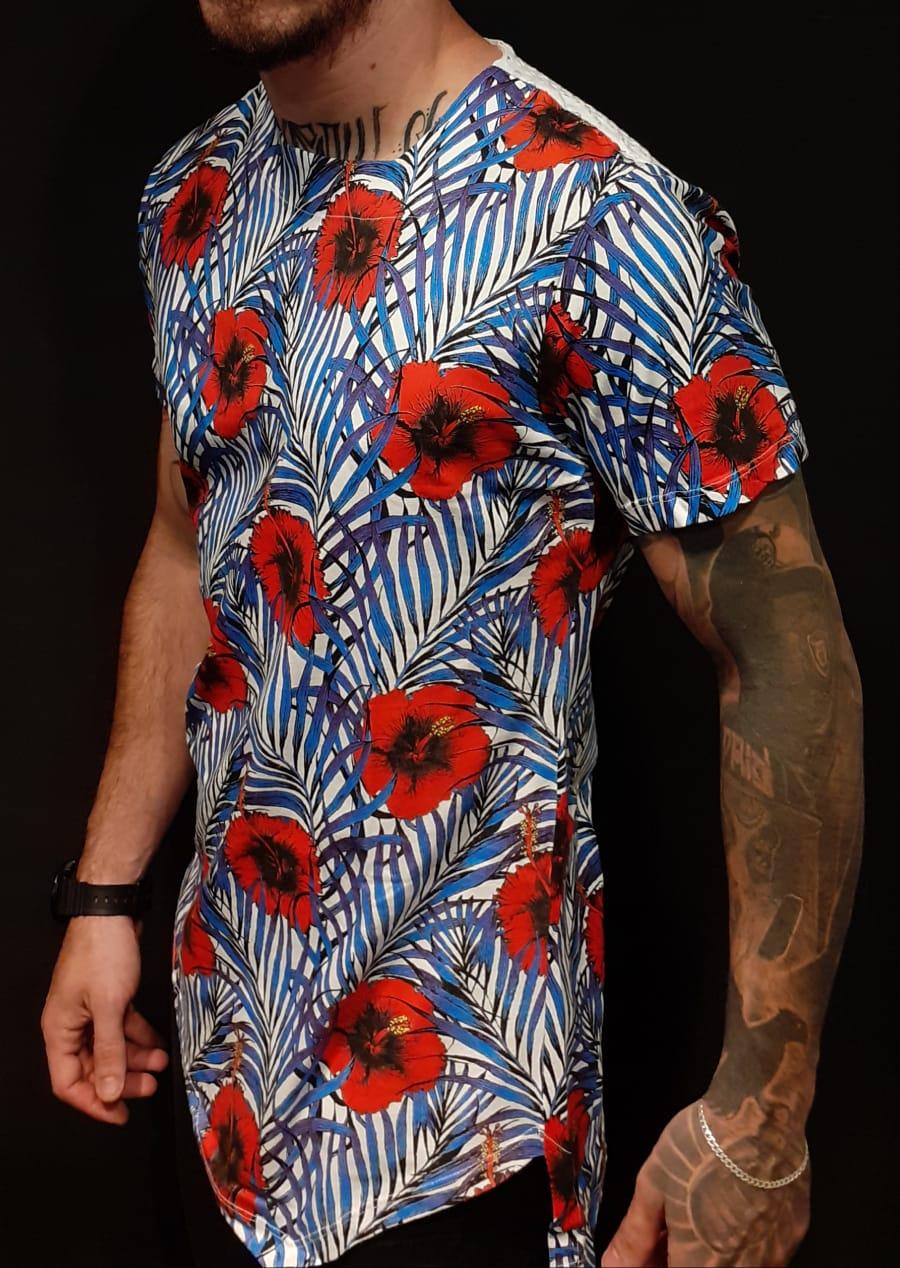 Camiseta King Joy Long Flowers Red and Blue  - Harpia Moda - Moda Masculina & Acessórios