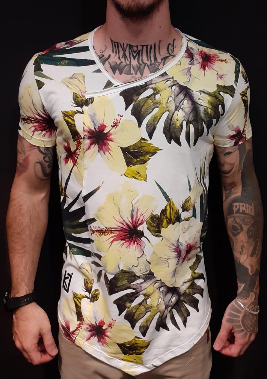 Camiseta King Joy Long Resiliência Flowers White  - Harpia Moda - Moda Masculina & Acessórios