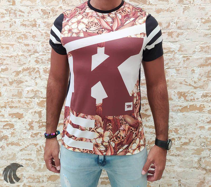 Camiseta King Joy Preta K Flowers  - Harpia Moda - Moda Masculina & Acessórios