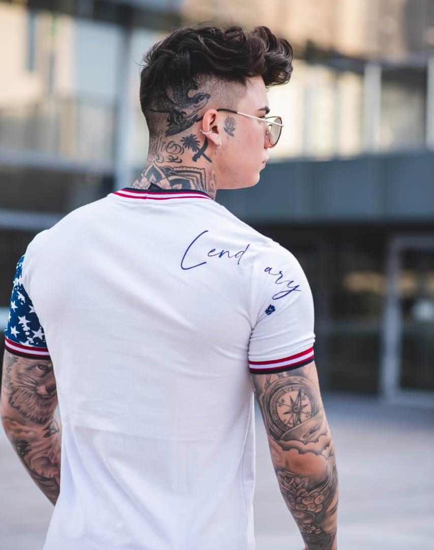 Camiseta Lendary Bandeira EUA Branca  - Harpia Moda - Moda Masculina & Acessórios