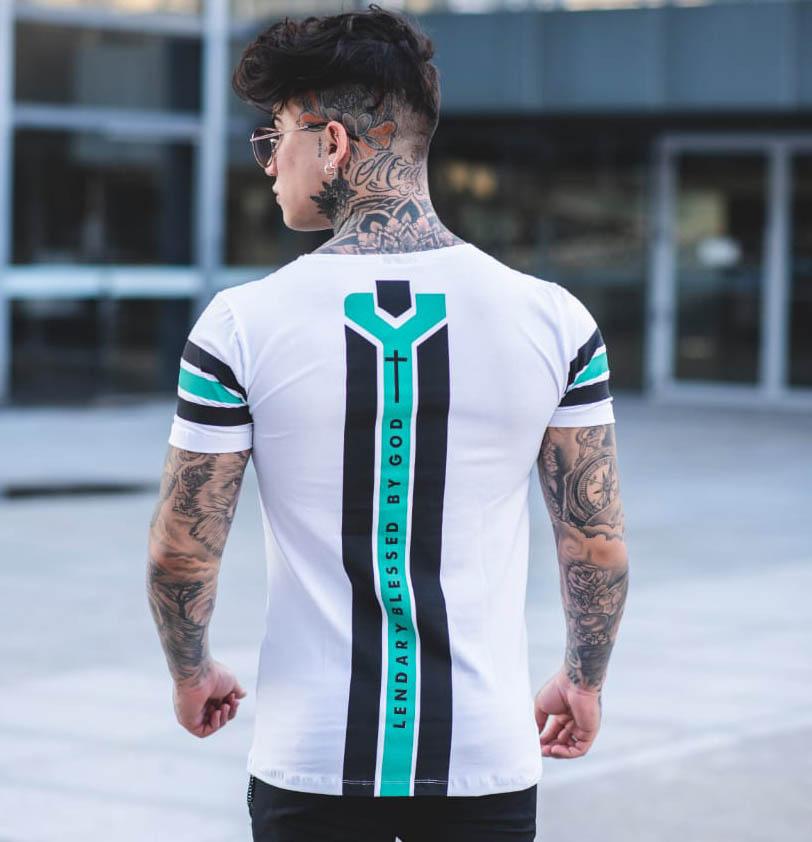 Camiseta Lendary Branca Detalhes Verde Agua e Preto  - Harpia Moda - Moda Masculina & Acessórios