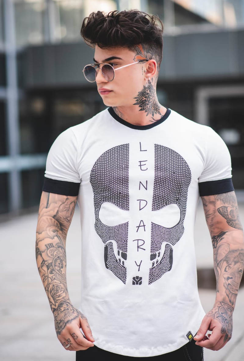 Camiseta Lendary Caveira Pedras Brilhantes Branca  - Harpia Moda - Moda Masculina & Acessórios