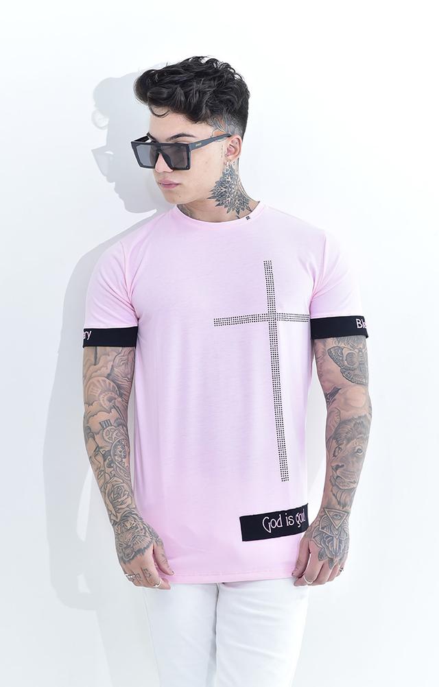 Camiseta Lendary Rosa Cruz Detalhes Brilhantes  - Harpia Moda - Moda Masculina & Acessórios