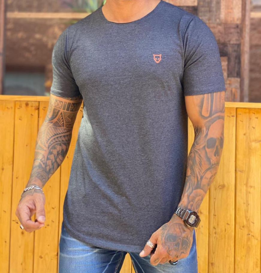 Camiseta Long Line Volk Culture Cinza  - Harpia Moda - Moda Masculina & Acessórios